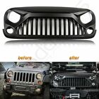 For 2007 2018 Jeep Wrangler JK Aggressive Angry Bird Matt Black Front Grille