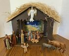 Vintage Nativity Scene Musical 9 Finely Crafted Figurines with Stable Italy
