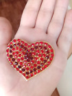 Large 225 Valentine Heart Pin Sparkling Red Rhinestones Golden Accenting