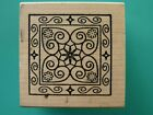 Floral Mosaic Inspriation Square Small OUTLINES Rubber Stamp