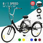 26 24 20 1 8 Speed Adult Tricycle 3 Wheel Bike w Basket for Shopping 220lb