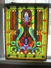 Large Stained Glass Window Hanging Panel Vintage 25 x 19