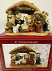 Adorable Children Porcelain St Nicholas Square Nativity Scene King Jesus Stable