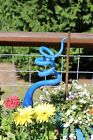 Steal Blue Glass Tigger Tail Garden Art Sculpture Outdoor Decoration