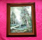 Beautiful Vintage Signed Oil Painting LADY WALKING IN THE FOREST Landscape