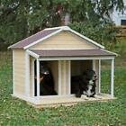 Boomer  George Medium Duplex Dog House Antique White Wash wood