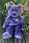 Ty Beanie Buddies Collection Clubby  IV 2001  Purple Bear 14""