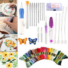 DIY Embroidery Pen Knitting Sewing Tool Suits Punch Needle W/ 50 Threads Suits