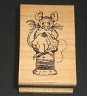MOUSE Stitching Sewing Sitting on SPOOL of Thread 1994 5 STAR STAMPS Wood Rubber