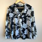 Karl Lagerfeld Black White Gray Floral Blouse Ruffled Front Placket XS NWT