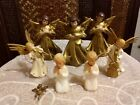 Vtg Paper Mache Angels Plastic  or Celluloid Nativity Figurines  Ornaments