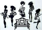 WOMAN LADIES SHOPPING or HAVING A NIGHT ON THE TOWN SILHOUETTE DIE CUT CUTS