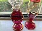 5 Clear  Pink Egyptian Blown Glass 4 Perfume Bottles 1 Diffuser NEW