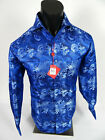 Mens Leonardi Dress Shirt Blue Floral Design with Sheen French Cuff