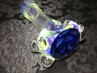 Glass Pipe Spoon Style Deep Blue Honeycomb Handmade Silver Fumed Color Changer
