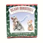 RARE 1998 NEW HERSHEY'S COLLECTOR MERRY MINIATURES MOUSE 2 PIECE ORNAMENT SET