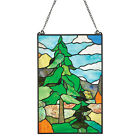 Wilderness Art Stained Glass Panel Tiffany Style Wall Hanging Sun Catcher