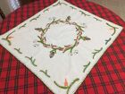 VTG German Hand Embroidered Christmas Tablecloth Table Topper