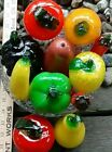 BEAUTIFUL 10 PC MURANO STYLE HAND BLOWN GLASS FRUIT  VEGETABLES CRYSTAL BOWL