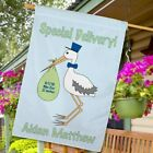 Personalized Stork Special Delivery House Flag New Baby Birth Announcement