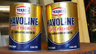 2 Texaco Havoline Super Premium 10W.20W&40 Motor Oil Quart Cardboard Cans ~ Full