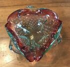 MURANO GLASS DISH BOWL Pink Green controlled Bubbles Vivid Colors Mid Century
