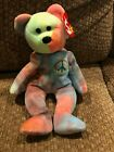 TY Peace bear Beanie Baby 1996 Rare Color Pattern Tag Errors Retired NEW Vintage