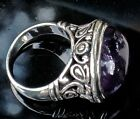 259 Vintage HUGE STERLING AMETHYST RING IN LUCKY SIZE 7 15G