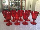 8 VINTAGE 6 Tall RUBY RED FOOTED GLASS WINE GOBLETS 6oz PANELED DIAMOND