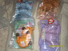 Ty Beanie Babies McDonalds TWIGS, HAPPY, PEANUTS, BONGO LOT OF 4. NEW in bags!
