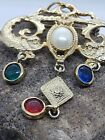 PEARL CAB  BEZEL RUBY SAPPHIRE EMERALD POURED GLASS CHINESE DRAGON PIN NECKLACE