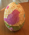 RARE Godiva Pink Bird Sequin Beaded Easter Egg Shape Candy Container 5 Box