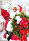 Santa Claus with Christmas Wreath Holiday Greeting Cards
