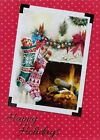 Happy Holidays Christmas Stocking Hanging By A Fire Place Greeting Card