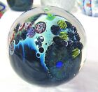 Scarce Josh Simpson Inhabited Planet Orbiting UFO Marble Paperweight 1990 3