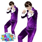 60s Gigolo Costume Groovy Powers Mens Fancy Dress Purple Austin Suit Outfit