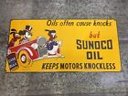 Sunoco Oil Porcelain Sign Disney Donald Duck Mickey Mouse Pluto Gas Pump Plate