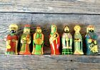 RUSSIAN HAND PAINTED WOOD LACQUERED 7 PC NATIVITY MARY JOSEPH KINGS ANGEL