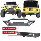 Front Rear Bumpers w LED Lights  Hitch Receiver for 1997 2006 Jeep Wrangler TJ