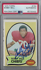 1970 TOPPS Bobby Bell Signed Autographed Football Card #154 PSA KC Chiefs HOF
