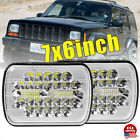 2x 60W 5X7 7x6 LED Headlights For 86 1995 Jeep Wrangler YJ 84 2001 Cherokee XJ