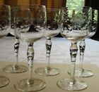 Wine glasses set of 6 vintage blown glass with cut floral 4 ounce