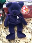 TY BEANIE BABY 1997 PRINCESS DIANNA FIRST EDITION PURPLE BEAR WHITE ROSE ERRORS