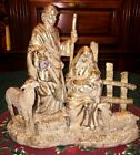 GORGEOUS GOLD LEAF FOIL NATIVITY SCENE LIGHTED LAMP FAUX STONE