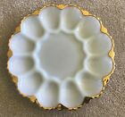 Vintage Anchor Hocking Milk Glass Deviled Egg Plate with Gold Trim