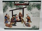 Large Signature Kirkland 13 Porcelain Piece Christmas Nativity Set Wooden Creche
