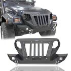 Black Offroad Front Bumper w D Ring Winch Plate for 1997 2006 Jeep Wrangler TJ