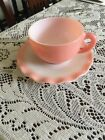 Vintage Hazel Atlas Pink And White Crinoline  Cup And Saucer