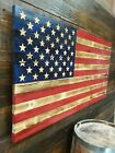 37 X 19 Large Carved Stars Wooden American Flag Made in Tennessee Rustic Wood