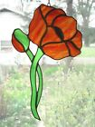 Handmade Stained Glass Flower POPPY Orange Suncatcher PO45